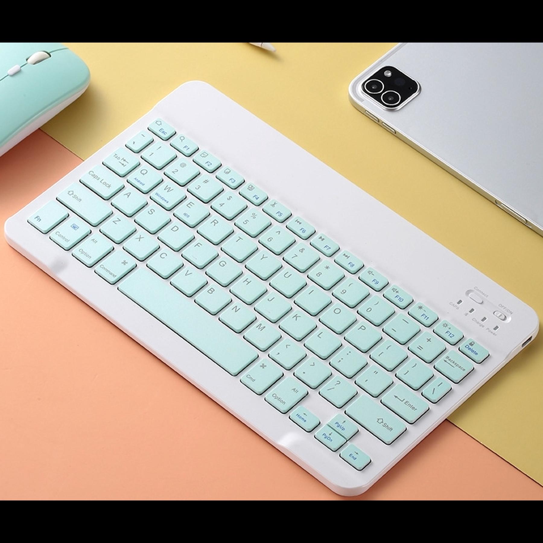 Teclado Bluetooth Verde (Compatible con dispositivos Bluetooth: iPad, Tablet, Pc, Notebook)