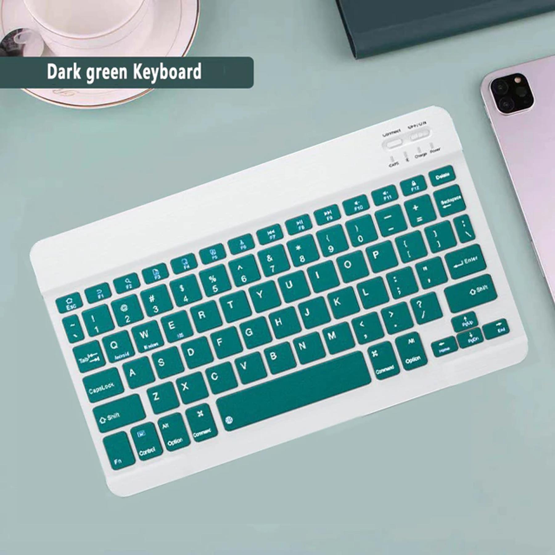 Teclado Bluetooth Verde Oscuro (Compatible con dispositivos Bluetooth: iPad, Tablet, Pc, Notebook)