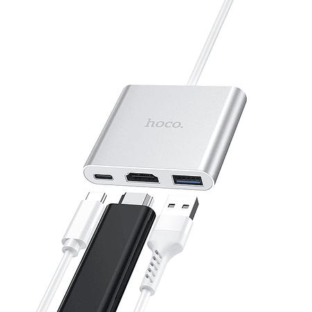 Hub USB-C 3 en 1 Usb, HDMI, PD tipo C - Hoco