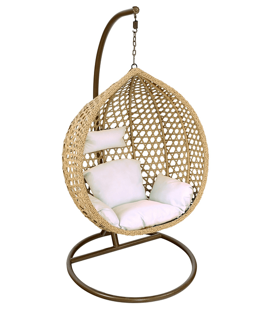 Silla Colgante Simple Rattan (tamaño L) - Caramelo