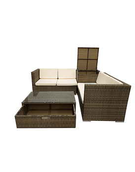 LIVING TERRAZA 4 PERS BOX STORE CARAMELO