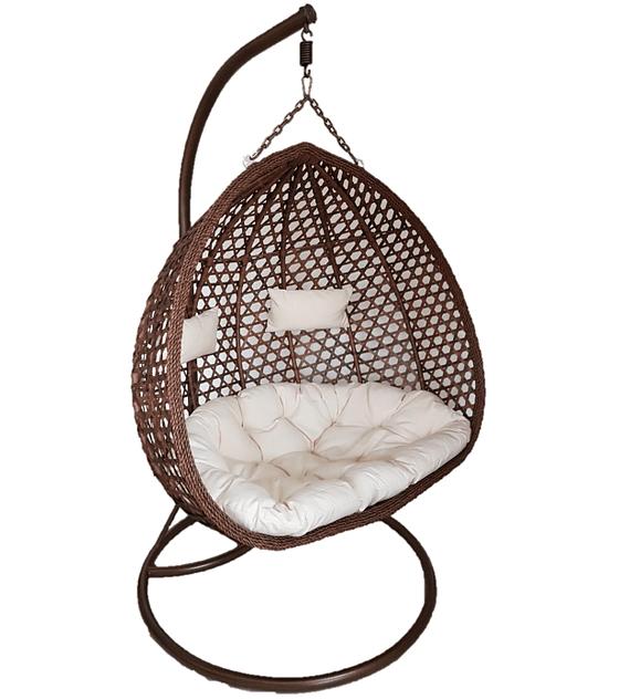 Silla Colgante Doble XL Rattan- Chocolate / Marfil