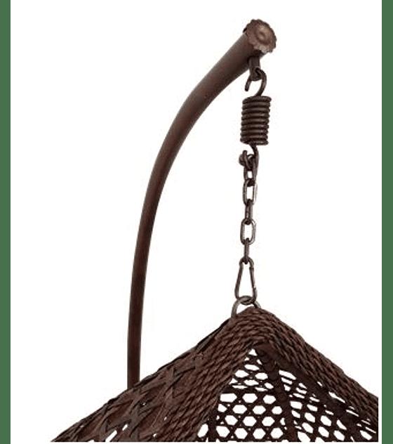 Silla Colgante Simple Rattan (tamaño L)- Chocolate/Marfil