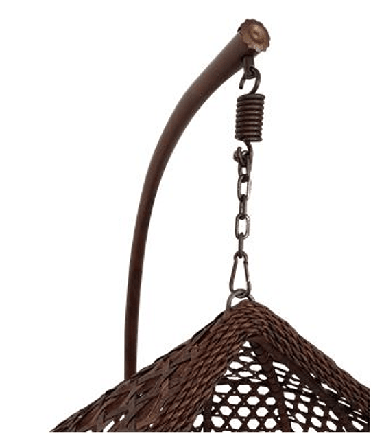 Silla Colgante Simple Rattan (tamaño L)- Chocolate/Marfil