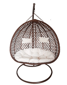 Silla Colgante Doble XL Rattan- Chocolate / Marfil