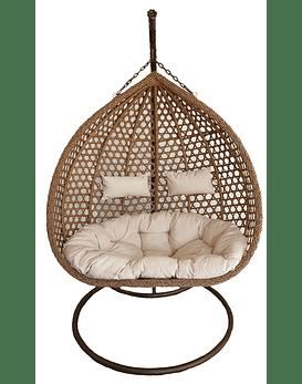 Silla Colgante XL Doble Rattan- Caramelo / Marfil