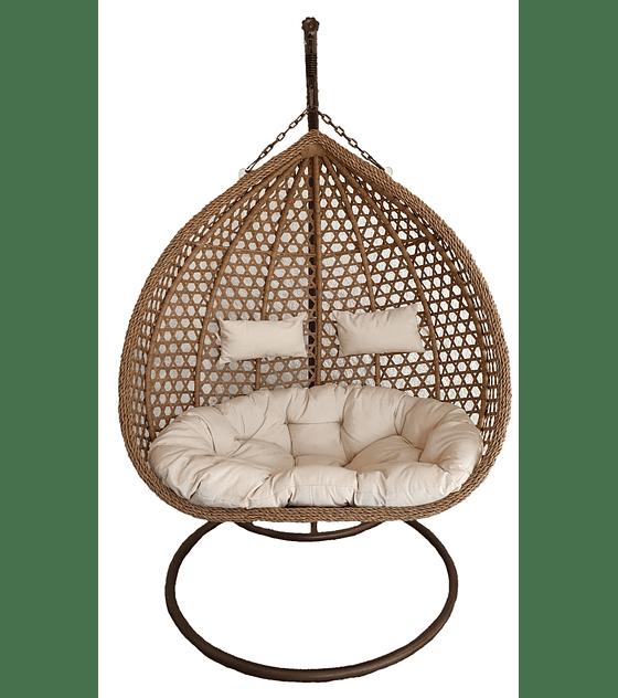 Silla Colgante XL Doble Rattan - Caramelo