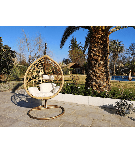 Silla Colgante Bamboo Rattan (tamaño M) - Caramelo/Marfil