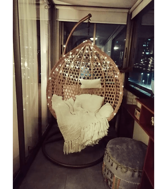 Silla Colgante Simple Rattan (tamaño M)- Caramelo/Marfil