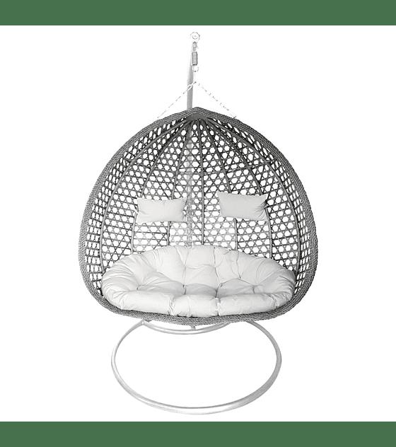 Silla Colgante Doble XL Rattan - Gris / Blanco