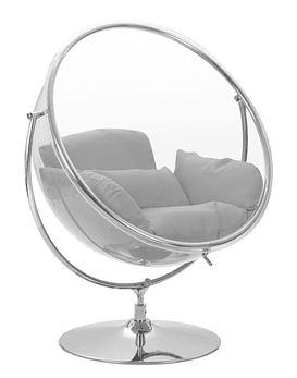Sillon Columpio Transparente Bubble Chair - Estructura Plateada