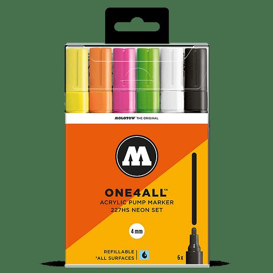 Pack 6 marcadores acrílicos One4All 227HS 4mm Set neón.