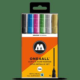 Pack 6 marcadores acrílico One4All 127HS 2mm Set metalizado.