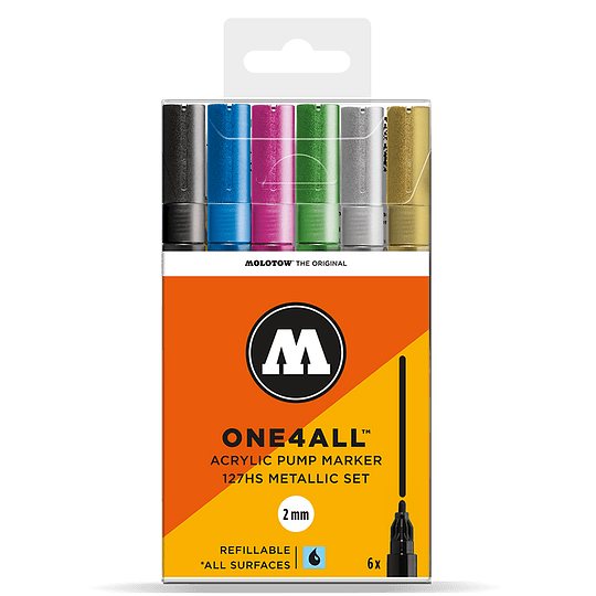 Pack 6 marcadores acrílicos One4All 127HS 2mm Set metalizado.
