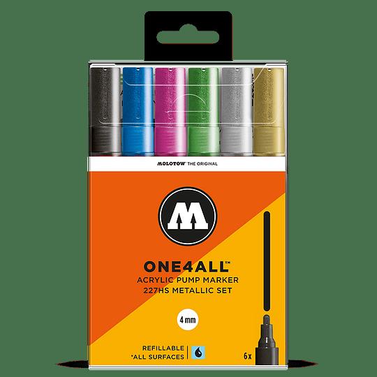 Pack 6 marcadores One4All 227HS 4mm Set metalizado.
