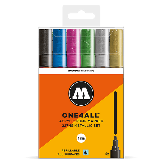 Pack 6 marcadores acrílicos One4All 227HS 4mm Set metalizado.