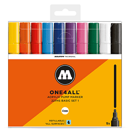 Pack 10 marcadores acrílicos One4All 227HS 4mm Set basic 1 (Venta sin empaque)