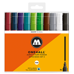 Pack 10 marcadores acrílicos One4All 227HS 4mm Set basic 2