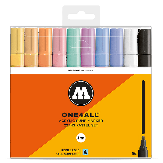 Pack 10 marcadores acrílicos One4All 227HS 4mm Set pastel