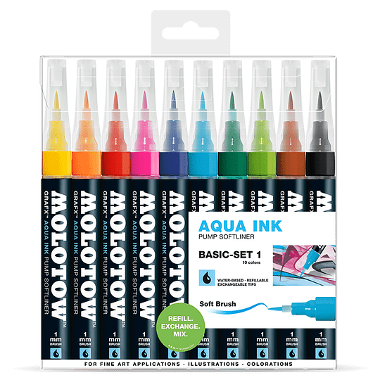Pack 10 - Grafx Pump Softliner Aqua ink 1 mm Set basic 1