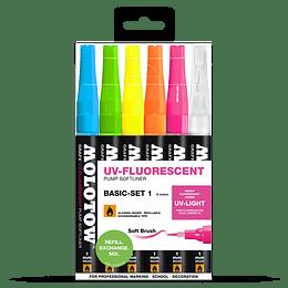 Pack 6 - Grafx Pump Softliner UV-Fluorescent 1 mm Set basic 1