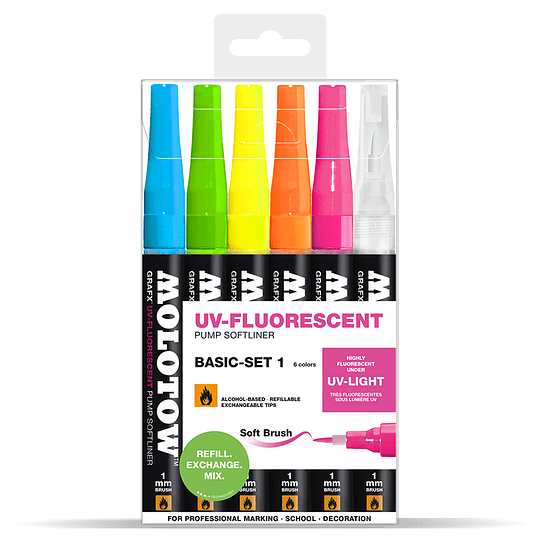 Pack 6 - Grafx Pump Softliner UV-Fluorescent 1 mm Set basic 1