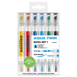 Pack 6 - Twin marker Aqua 1 mm/2-6 mm Set basic 1