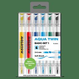 Pack 6 - Twin marker Aqua 1 mm/2-6 mm Set basic 1