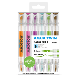 Pack 6 - Twin marker Aqua punta pincel 1 mm / punta biselada 2-6 mm Set basic 2