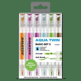 Pack 6 - Twin marker Aqua punta pincel 1 mm / punta biselada 2-6 mm Set basic 2