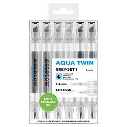Pack 6 - Twin marker Aqua punta pincel 1 mm / punta biselada 2-6 mm Set grises 1
