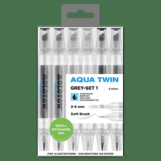Pack 6 - Twin marker Aqua punta pincel 1 mm / punta biselada 2-6 mm Set grises 1