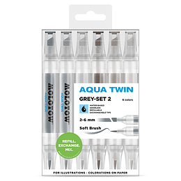 Pack 6 - Twin marker Aqua punta pincel 1 mm / punta biselada 2-6 mm Set grises 2