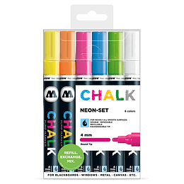 Pack 6 Chalk marker - 4 mm Neón-set