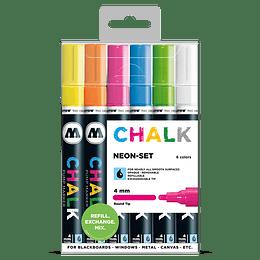 Pack 6 Chalk marker - 4 mm Neón-set