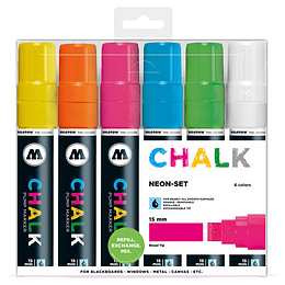 Pack 6 Chalk marker - 15 mm Neón-set