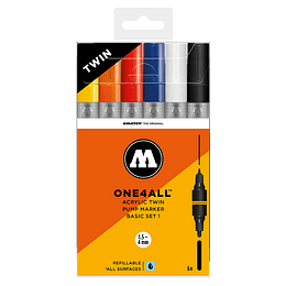 Pack 6 marcadores acrílico One4All Twin 1.5/4mm Set basic 1