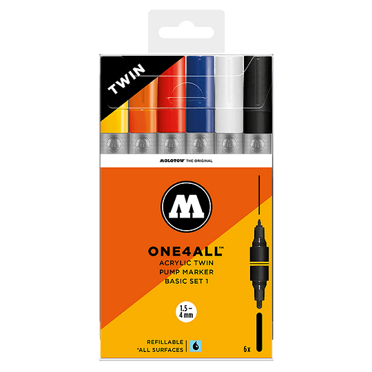 Pack 6 marcadores acrílico One4All Twin 1,5/4mm Set basic 1