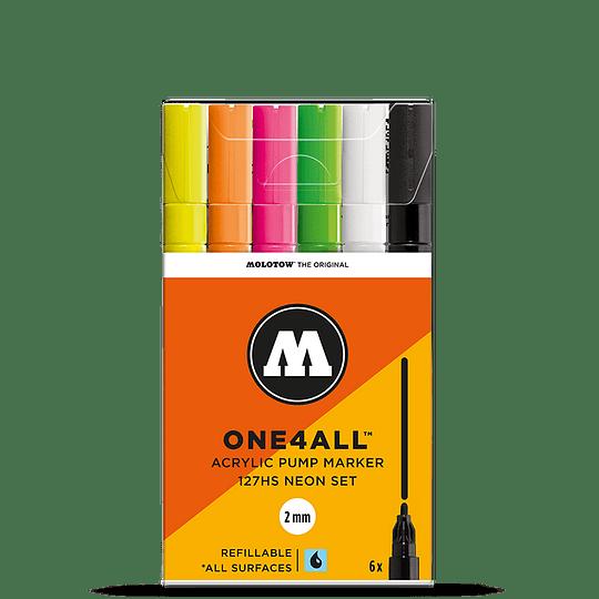 Pack 6 marcadores acrílico One4All 127HS 2mm Set neón.