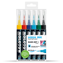Pack 6 - Grafx Pump Softliner Aqua ink 1 mm Set basic 1
