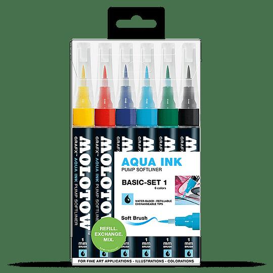 Pack 6 - Grafx Pump Softliner Aqua ink 1 mm Set basic 1