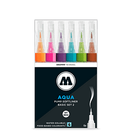 Pack 6 - Grafx Pump Softliner Aqua ink 1 mm Set basic 2