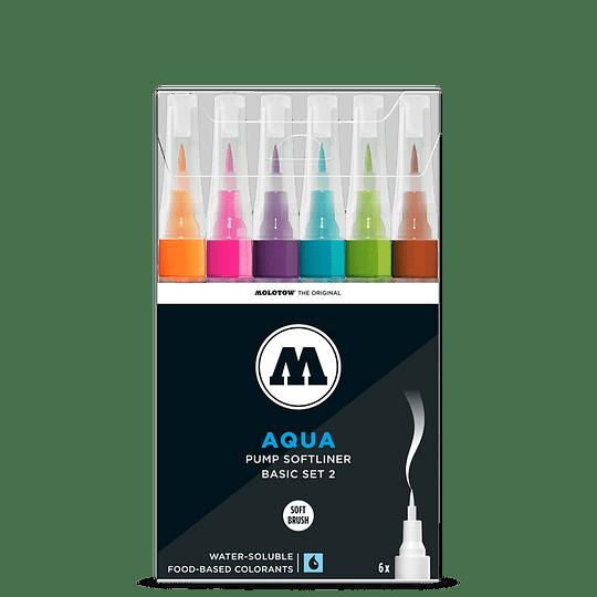 Pack 6 - Grafx Pump Softliner Aqua ink 1 mm Set basic 2