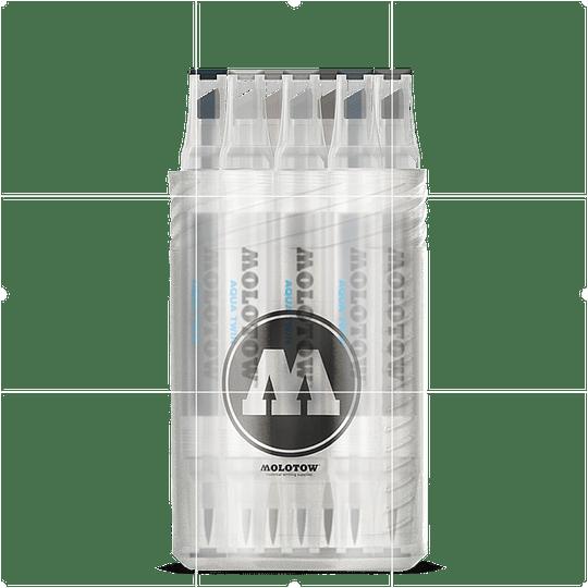Pack 12 - Twin marker Aqua punta pincel 1 mm / punta biselada 2-6 mm Set grises