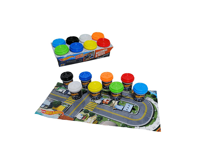 SET 8 POTES MASAS HOT WHEELS