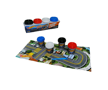 SET 4 POTES DE MASAS HOT WHEELS