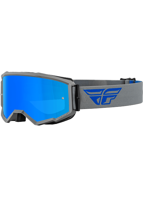 FLY RACING ANTIPARRA ZONE GOGGLE GREY/BLUE WITH/ SKY BLUE MIRROR/SMOKE LENS