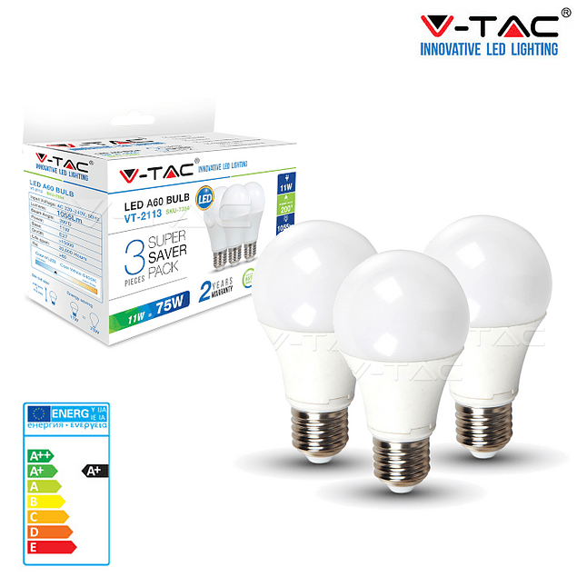 PACK (3 un) Lâmpada LED E27 11W 1.055lm A60 ALLROUND