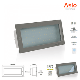 APLIQUE MURO EMBUTIR LED 8W 5000K INOX