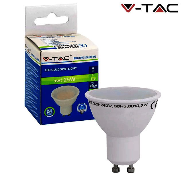 GU10 3w LED LAMP »25W 110º NATURAL LIGHT 210Lm WIDE